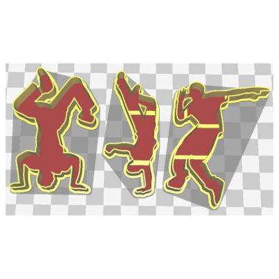 Lot de 3 silhouettes danseurs Hip Hop