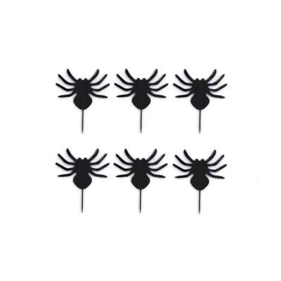 Lot de 6 mini toppers pour cupcakes araignée
