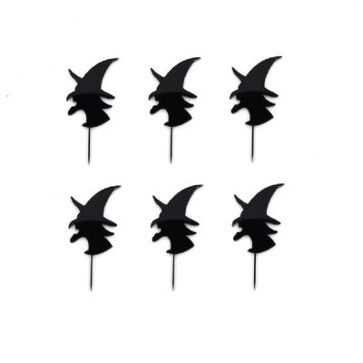 Lot de 6 mini toppers visage de sorcière