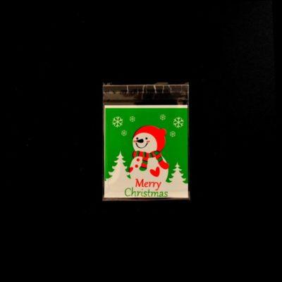 Lot de 10 sachets pour biscuits bonhomme de neige vert