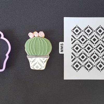 Lot emporte pièce cactus 1 + pochoir motifs losanges