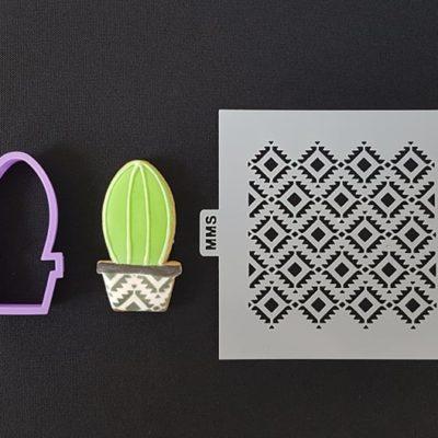 Lot emporte pièce cactus 2 + pochoir motifs losanges