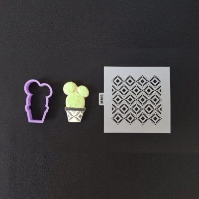 Lot emporte pièce cactus 3 + pochoir motifs losanges