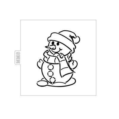 Pochoir à colorier bonhomme de neige
