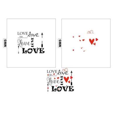 Lot de 2 pochoirs mots LOVE