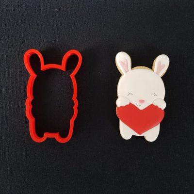 Emporte pièce contour lapin blanc coeur
