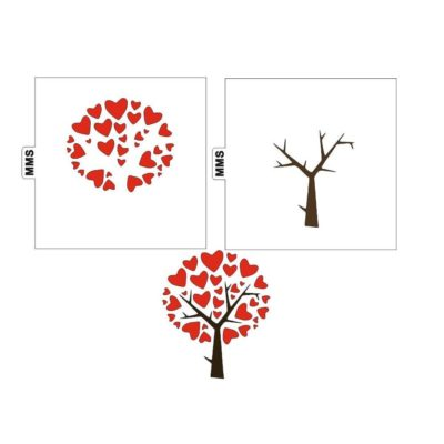 Lot de 2 pochoirs arbre coeur