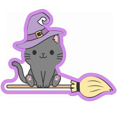 Emporte pièce contour chat sorcier balai