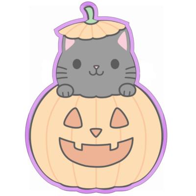 Emporte pièce contour chat citrouille